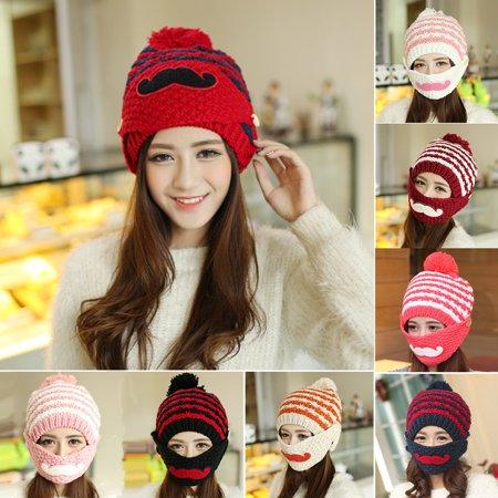 Obstce (Asian Size)Women Stripe Knit Crochet Beanie Hat Winter Warm Cap with Moustache Face Mask