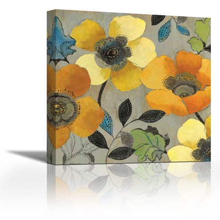 Yellow And Orange Poppies Ii Contemporary Fine Art Giclee On Canvas Gallery Wrap Wall