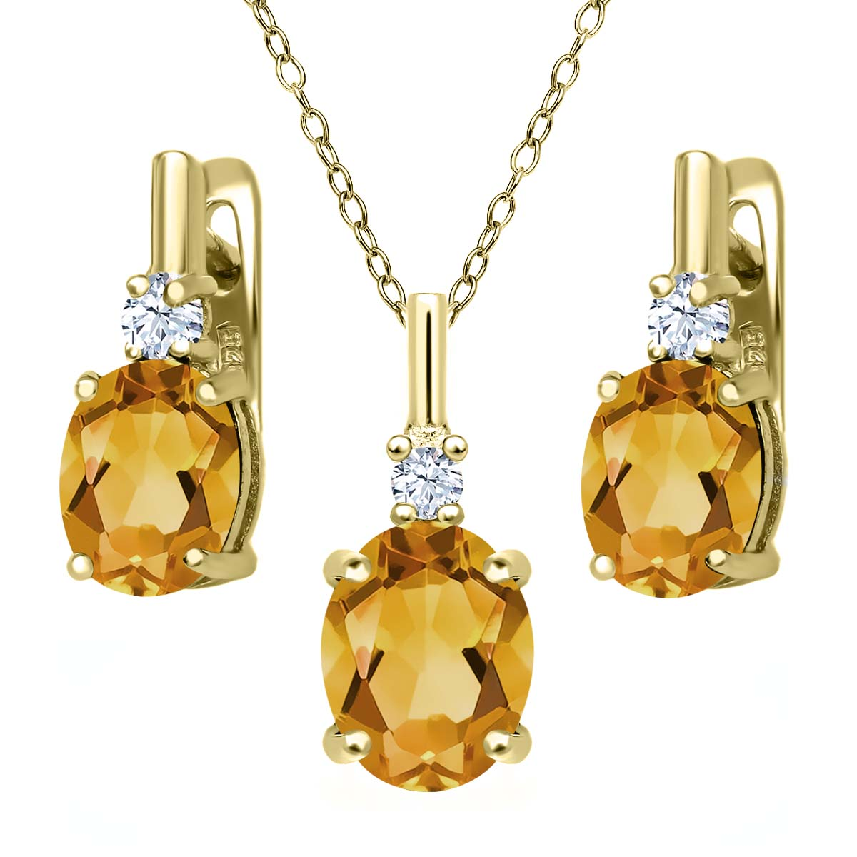3.53 Ct Yellow Citrine White Topaz 18K Yellow Gold Plated Silver Pendant Earrings Set by