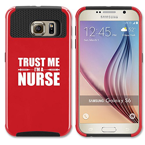 For Samsung Galaxy S7 Shockproof Impact Hard Soft Case Cover Trust Me I'm A Nurse (Red)