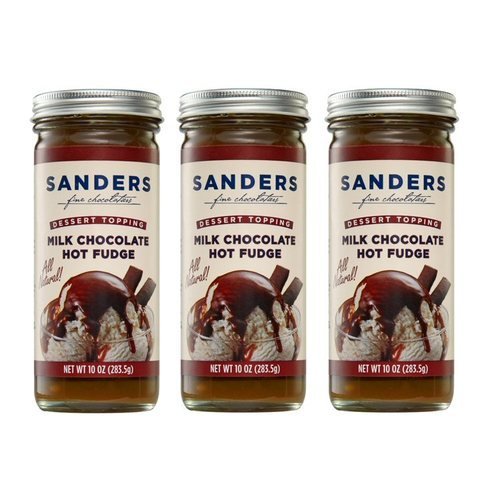 Sanders  Milk Chocolate Hot Fudge - Gluten-Free - No High Fructose Corn Syrup - No Artificial Sweeteners  All Natural - Made in USA - 10 Oz (3 Pack)