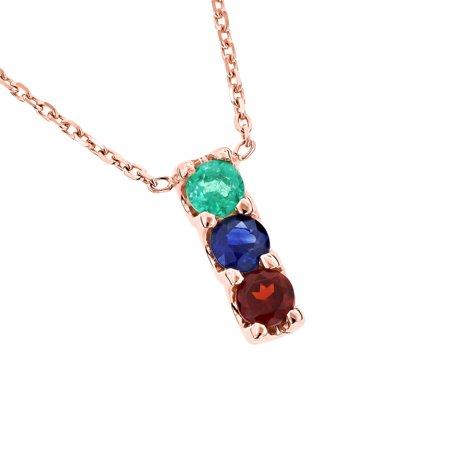 Ladies 14K Three Stone Gemstone Necklace Emerald Sapphire Garnet (Rose Gold)