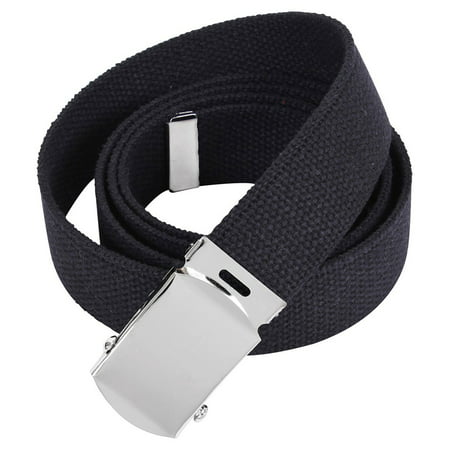 Rothco 64 Inch Military Color Web Belts - Black, Chrome Buckle (Chrome Oval Belt Buckle)