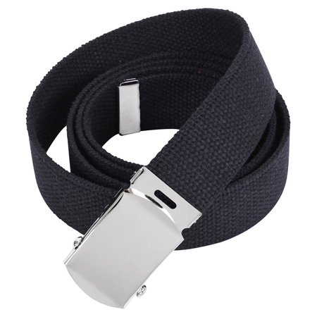 Rothco 64 Inch Military Color Web Belts - Black, Chrome Buckle