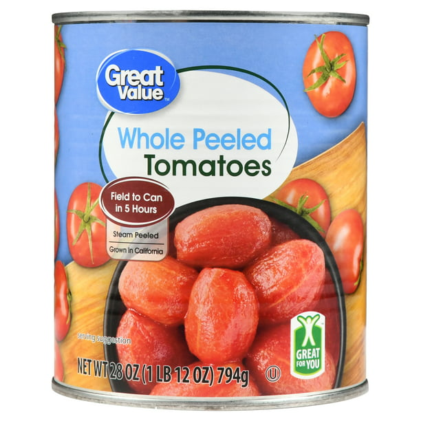 Great Value Whole Peeled Tomatoes, 28 Oz