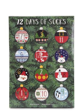 Muk Luks Women's 12 Days Of Christmas Socks Gift Box