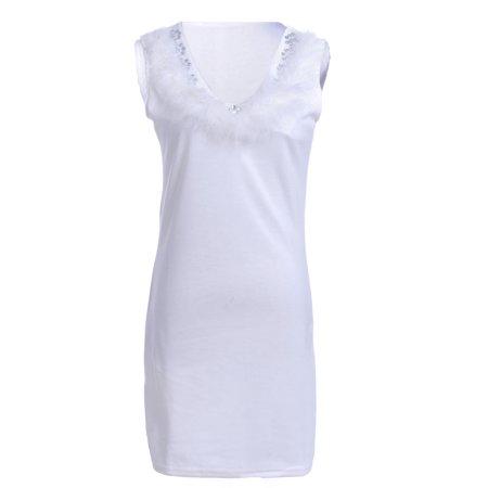 - S/M Fit White Marabou Feathers Trim Rhinestone Embellished Short Dress