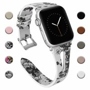 iGK Leather Band Compatible for Apple Watch Band Strap 38mm 40mm 42mm 44mm, Soft Breathable Leather Sport Slim Bracelet Replacement Bands for iWatch Apple Watch Series 4, Series 3, Series 2, Series 1