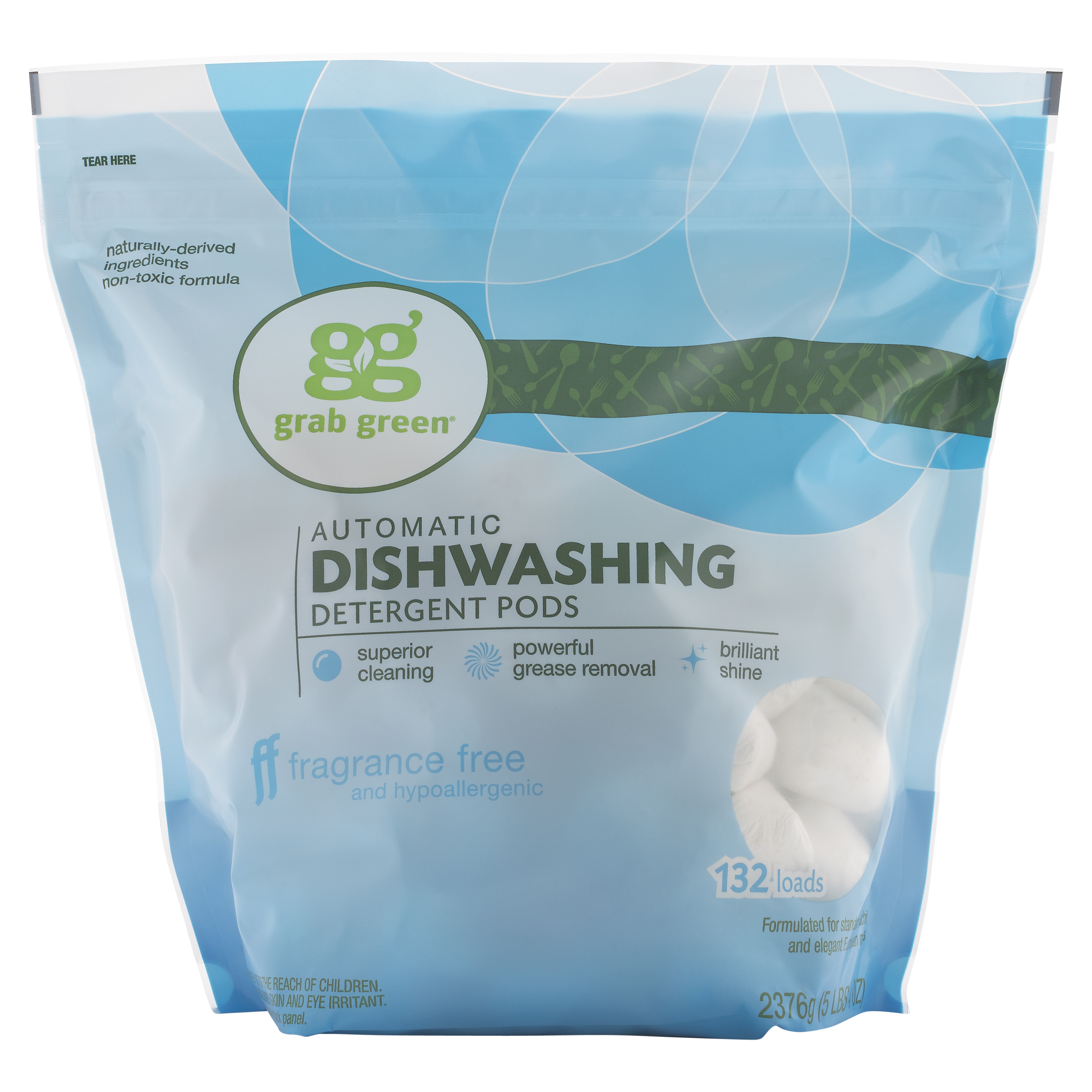 Grab Green Natural Automatic Dishwashing Detergent Pods, Fragrance Free, 132 Count