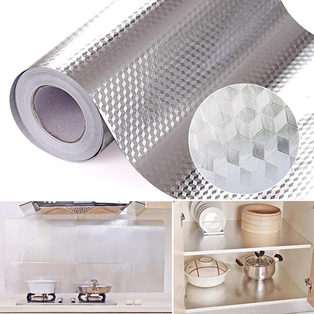 Micelec Aluminum Foil Self Adhesive Waterproof Wallpaper Kitchen Sticker DIY Home Decor
