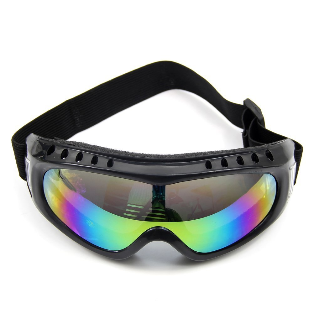 THZY Colorful Coated Safety Skiing Black-rimmed Goggles Outdoor Sport Dustproof Sunglass Eye Glasses(Colorful) by THZY