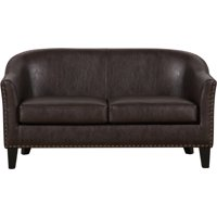 Brown Faux Leather Upholstered Settee