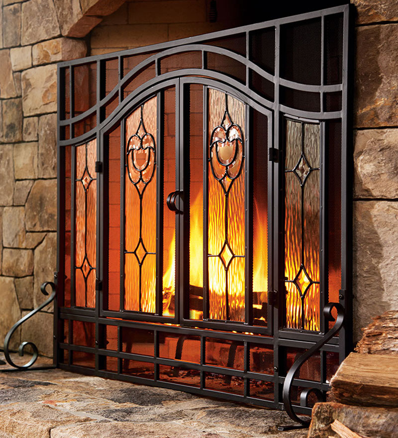 2-Door Floral Fireplace Screen w/ Beveled Glass Panels, in Black