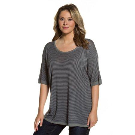 Ulla Popken Women's Plus Size Tiny Stripe Textured Sweater. 712252
