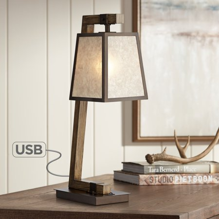 Franklin Iron Works Rustic Table Lamp with USB Charging Port Metal Base Light Mica Shade for Living Room Bedroom Nightstand - Metal Mica Table Lamp