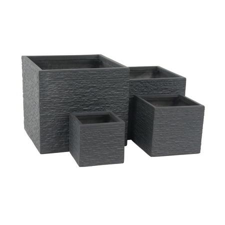 Decmode Set of 4 Modern Fiber Clay Square Black Planters, Black