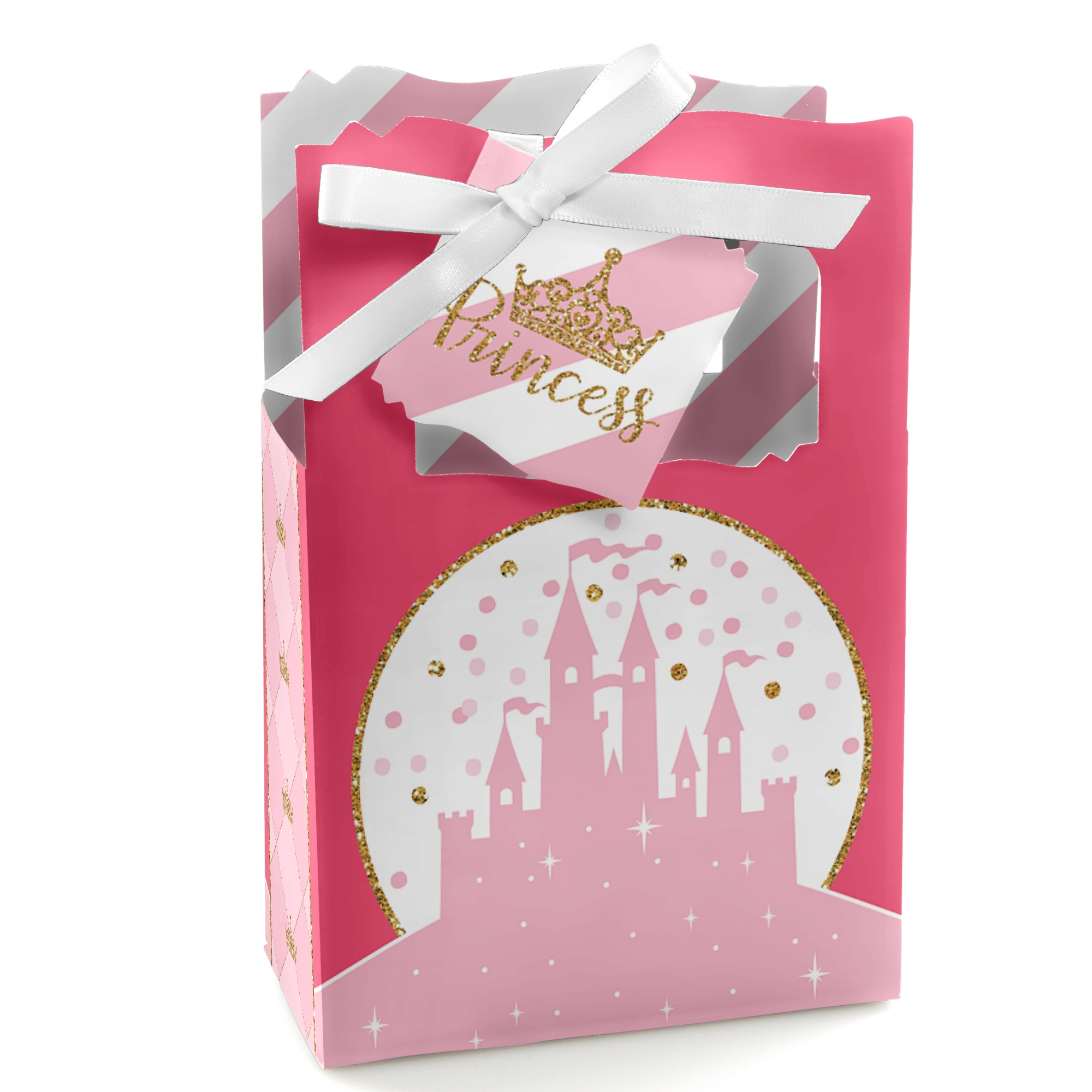 Little Princess Crown - Pink and Gold Princess Baby Shower or Birthday Party Favor Boxes - Set of 12
