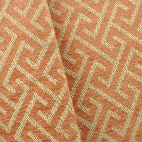 Chenille Woven Maze Orange/Beige Home Decorating Fabric, Fabric By the Yard