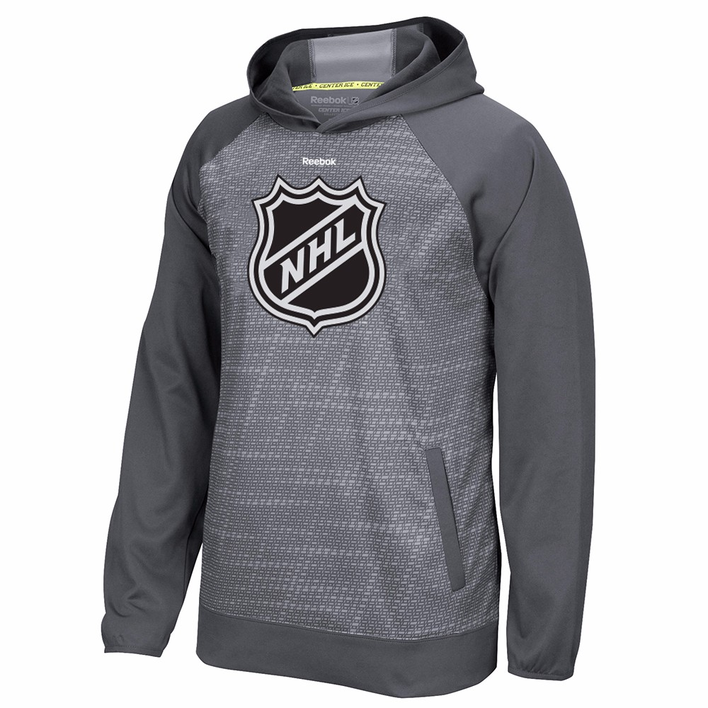 NHL NHL Reebok Grey Center Ice TNT Team Logo Speedwick Performance Pullover Hoodie For Men by Reebok