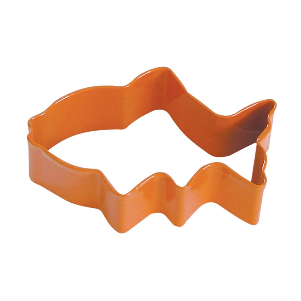 Fish Orange Poly Resin Coated Tin Cookie Cutter 3 in - R&M Cookie Cutters - Tin Plate Steel