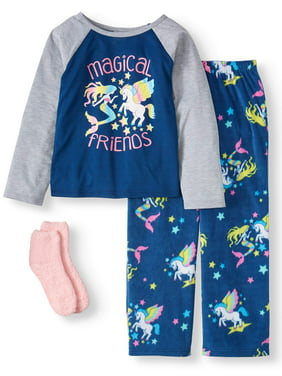 Mad Dog Girl's Magical Friends Jersey and Fleece 3PC Pajama Set (Little Girls & Big Girls)