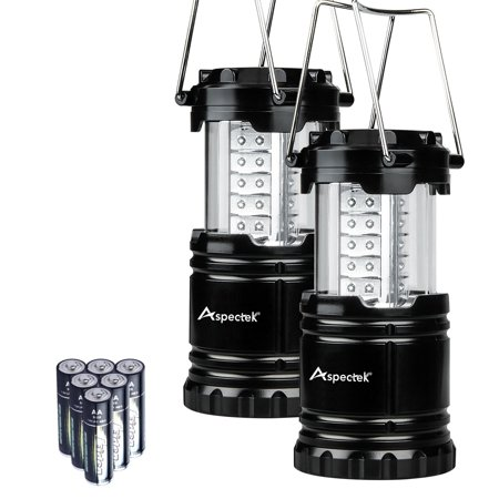 Aspectek 2 Pack Portable LED Camping Lantern Flashlights with 6 AA Batteries - Survival Kit for Emergency, Hurricane, Outage (Black, Collapsible)