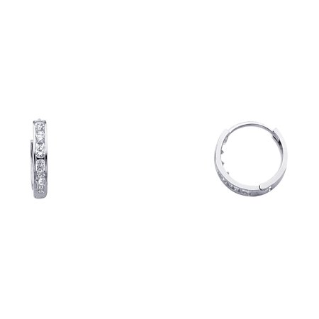 Small Polish - CZ Huggie Hoop Earrings Solid 14k White Gold Huggies Round CZ Pave Set Polished Finish Small 11 mm