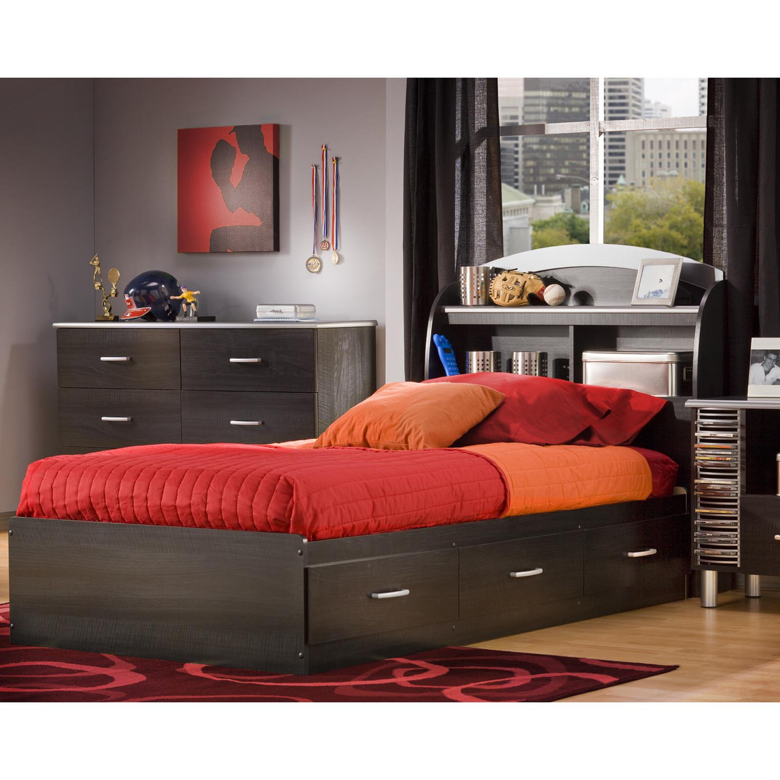 South Shore Cosmo Bookcase Platform Bed Collection
