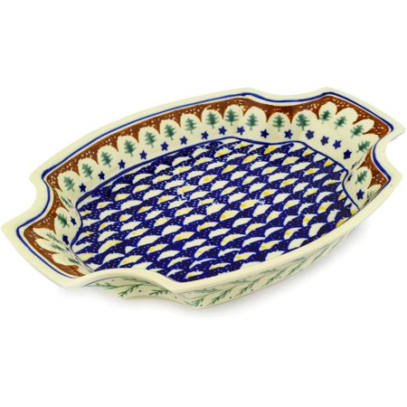 Polish Pottery Stoneware Cross (Polish Pottery 13-inch Platter (Pine Boughs Theme) Hand Painted in Boleslawiec, Poland + Certificate of Authenticity )