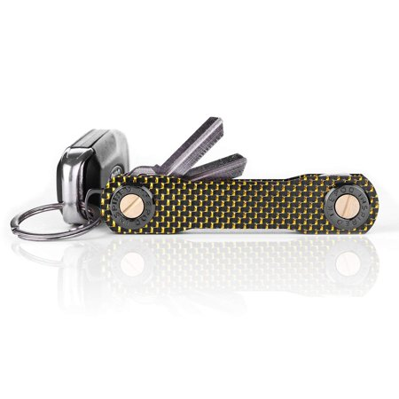 IKEPOD Compact Carbon Key Holder Organizer - Smart Minimalist Gadget Pocket Loop Loop Piece for Car Fob, up to 12 Keys - Gold