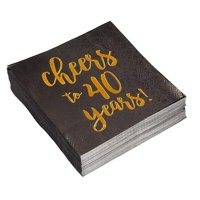 Birthday Party Cocktail Napkins - 50 Pack Gold Foil Cheers to 40 Years Disposable Paper Napkins, Perfect for 40th Birthday Party Supplies, Anniversary Decorations, 5 x 5 Inches Folded, Black