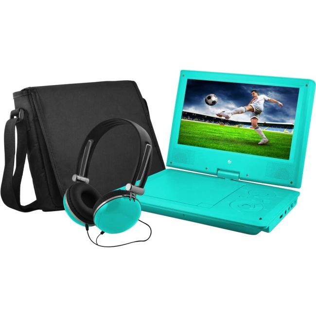 "Ematic EPD909 Portable DVD Player - 9"" Display - 640 x 234 - Teal - DVD-R, CD-R - JPEG - DVD Video, Video CD, MPEG-4 - C"