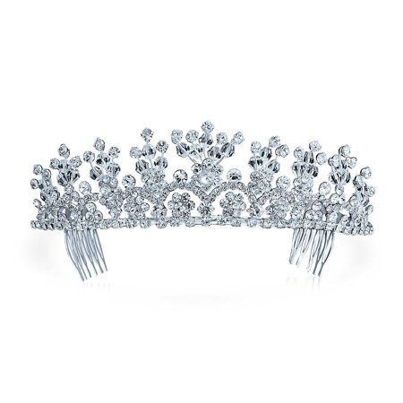 Headpiece Hair Accessories Crystal Royal Flower Tiara For Women For Teen For Pageant For Prom For Bride Silver Plated
