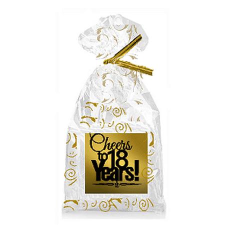 CakeSupplyShop Item#018CTC 18th Birthday / Anniversary Cheers Metallic Gold & Gold Swirl Party Favor Bags with Twist Ties ()
