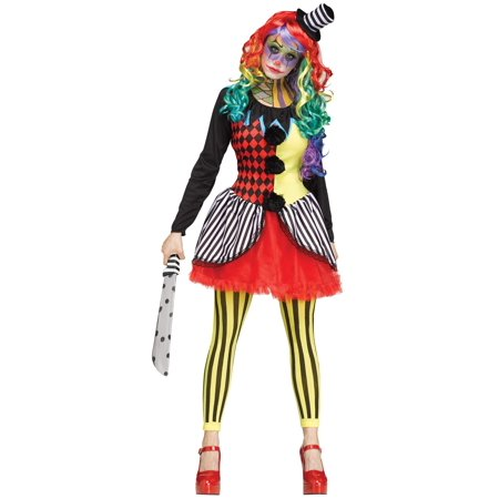 Adult Scary Freakshow Psycho Clown Womens Halloween Costume (Scary Halloween Party Names)
