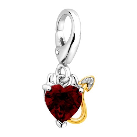 Duet 1 1/2 ct Natural Red Mystic Topaz Devil Heart Charm with Diamond in Sterling Silver & 14kt Gold