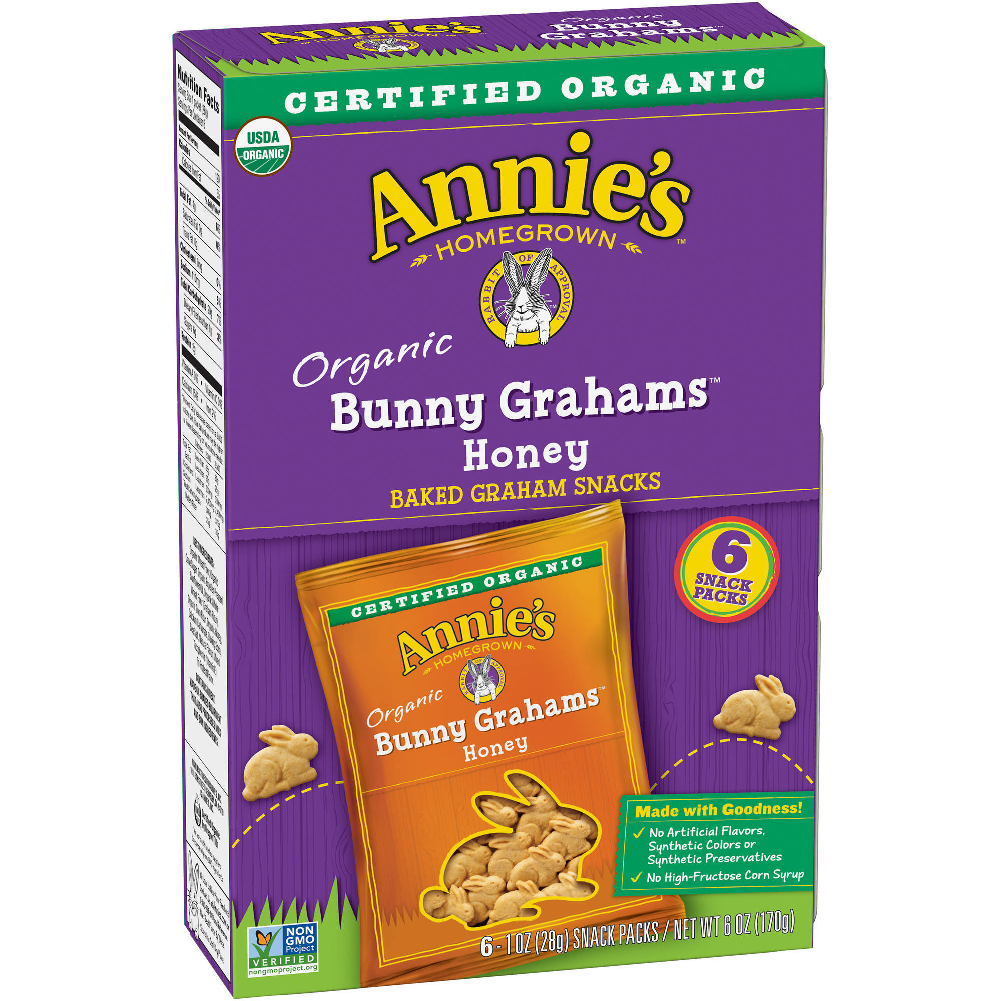 Annie's Homegrown Bunny Grahams Honey Whole Grain Graham Snacks, 1 oz, Pack of 6