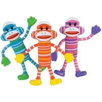 12 Bendable Classic Sock Monkeys Toy Party Favor Gift Costume Accessory