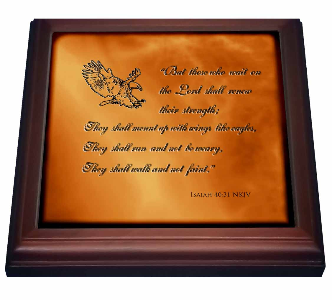 3dRose Isaiah 40 31 Bible verse with eagle engraved into a copper background , Trivet with Ceramic Tile, 8 by 8-inch