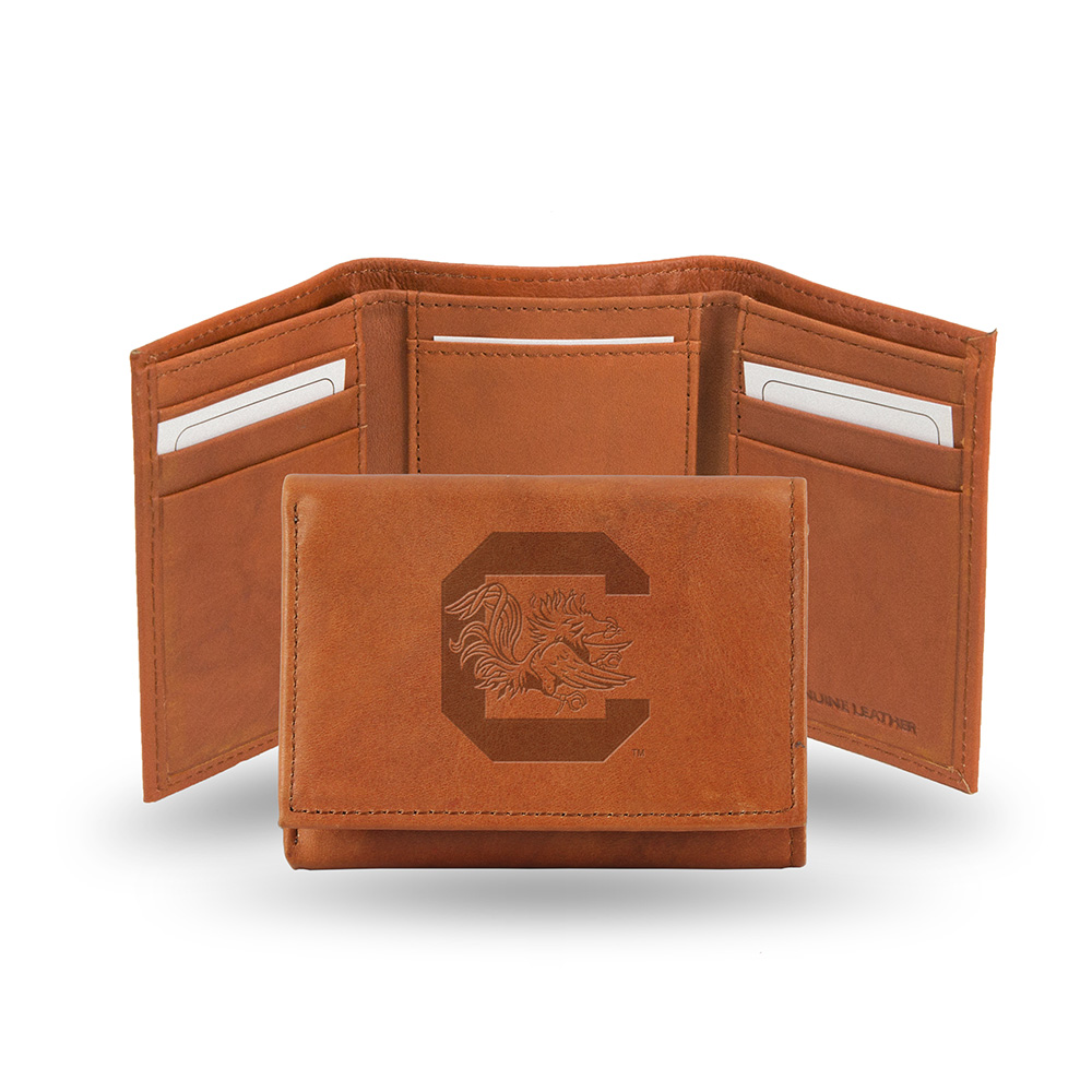 South Carolina Gamecocks  Tri-Fold Wallet (Pecan Cowhide)
