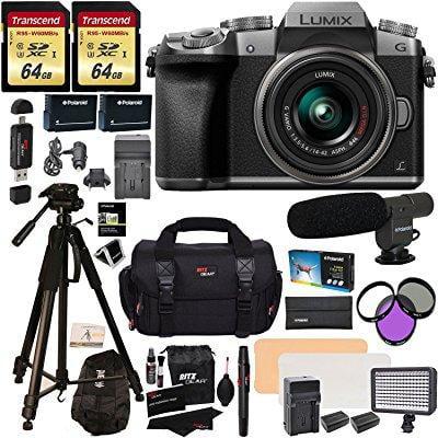 Panasonic DMC-G7KS Digital Single Lens Mirrorless Camera 14-42 mm Lens Kit, 4K + 2 Transcend 64 GB + LED Light... by Ritz Camera