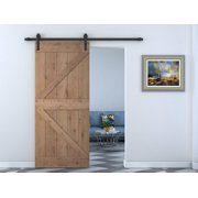 TMS 36 in. x 84 in. Z Bar 2 Panel Primed Natural Wood Finish Sliding Barn Door with Sliding Door Hardware Kit -SWD11-ORB