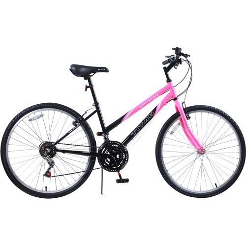 Titan Wildcat Women's 12-Speed Hardtail Mountain Bike, Bubblegum Pink and Black,15-Inch Frame Height