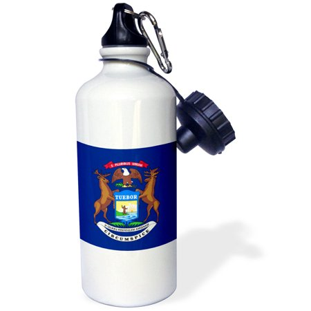State Coat Of Arms - 3dRose Flag of Michigan US American state United States of America USA - elk moose eagle coat of arms blue, Sports Water Bottle, 21oz
