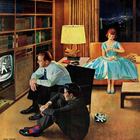 Marmont Hill Date with the Television by John Falter Painting Print on Wrapped Canvas