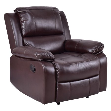 costway manual recliner sofa lounge chair pu leather home theater