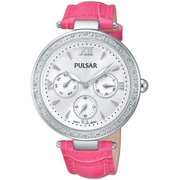 Womens Stainless Steel Case Pink Leather Strap Silver Dial Silver Watch - PP6107