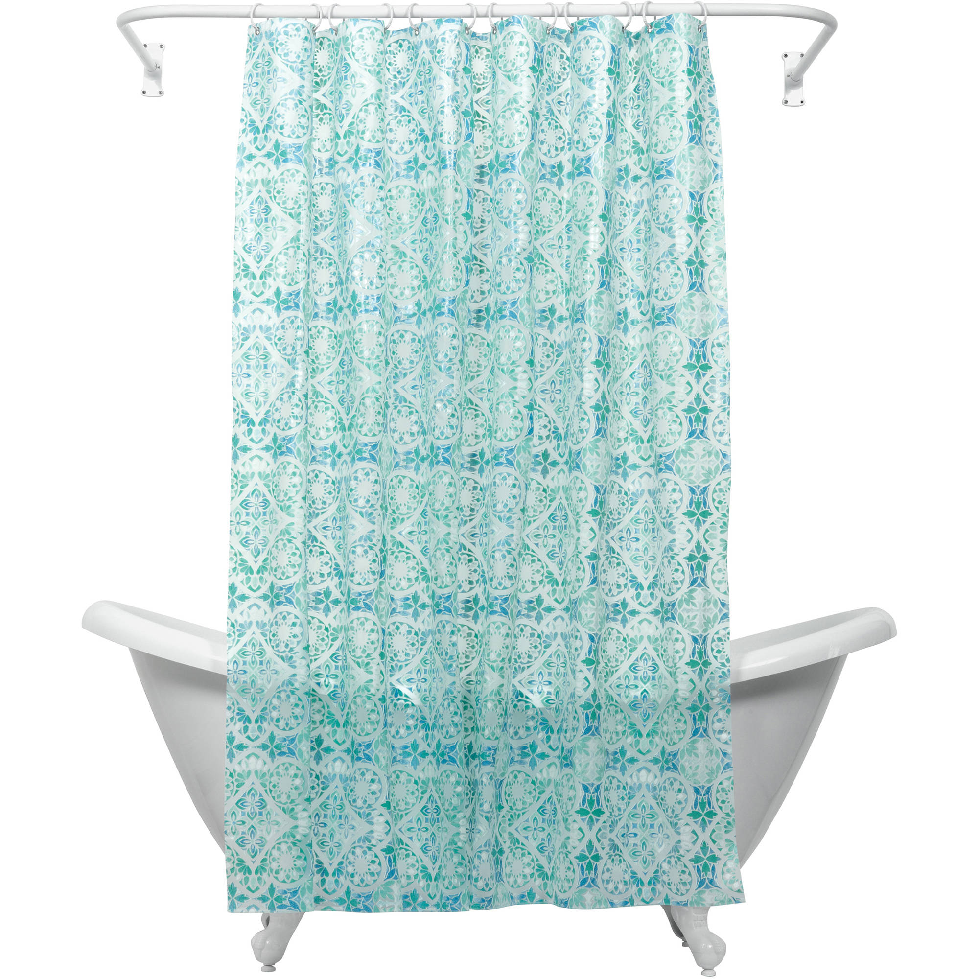 Zenna Home India Ink Morocco PEVA Shower Curtain Liner, Teal
