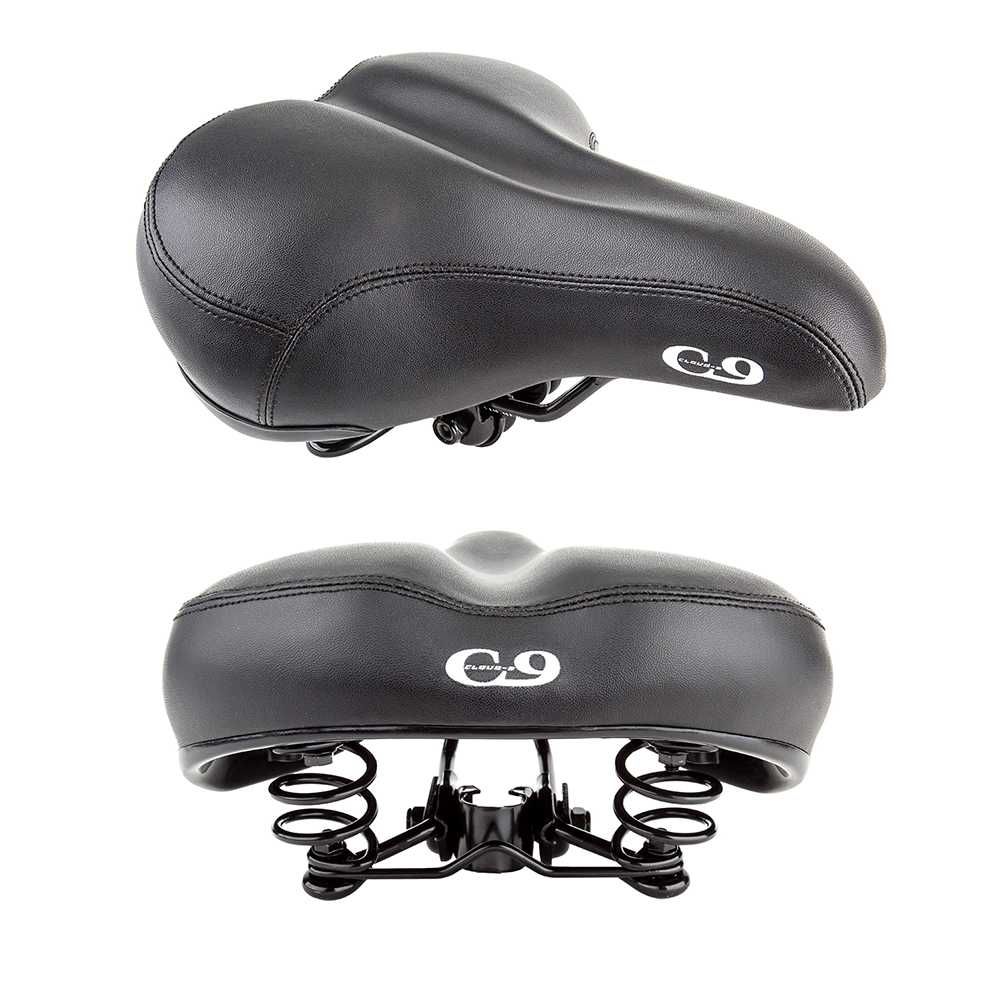 Sunlite Bicycle Cloud-9 Cruiser Gel Plus Suspension Saddle Black Stitched Cover