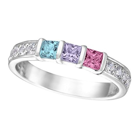 - Family Jewelry Mother's Ring Swarovski Princess Cut 1 to 6 Simulated Birthstones Sterling Silver Size 4